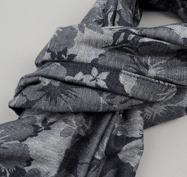 The Hill-Side Cotton / Linen Jacquard Aloha Large Scarf, Indigo