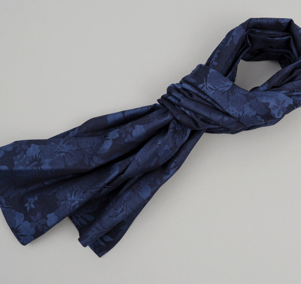 The Hill-Side Cotton / Linen Jacquard Aloha Large Scarf, Navy
