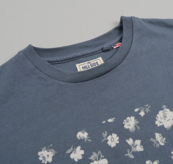 "The Hill-Side ""Discharge Floral Halftone"" Printed T-Shirt, French Blue"
