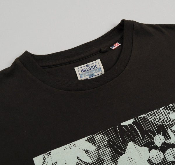 "The Hill-Side ""Big Crazy Floral Inverse Halftone"" Printed T-Shirt, Faded Black"