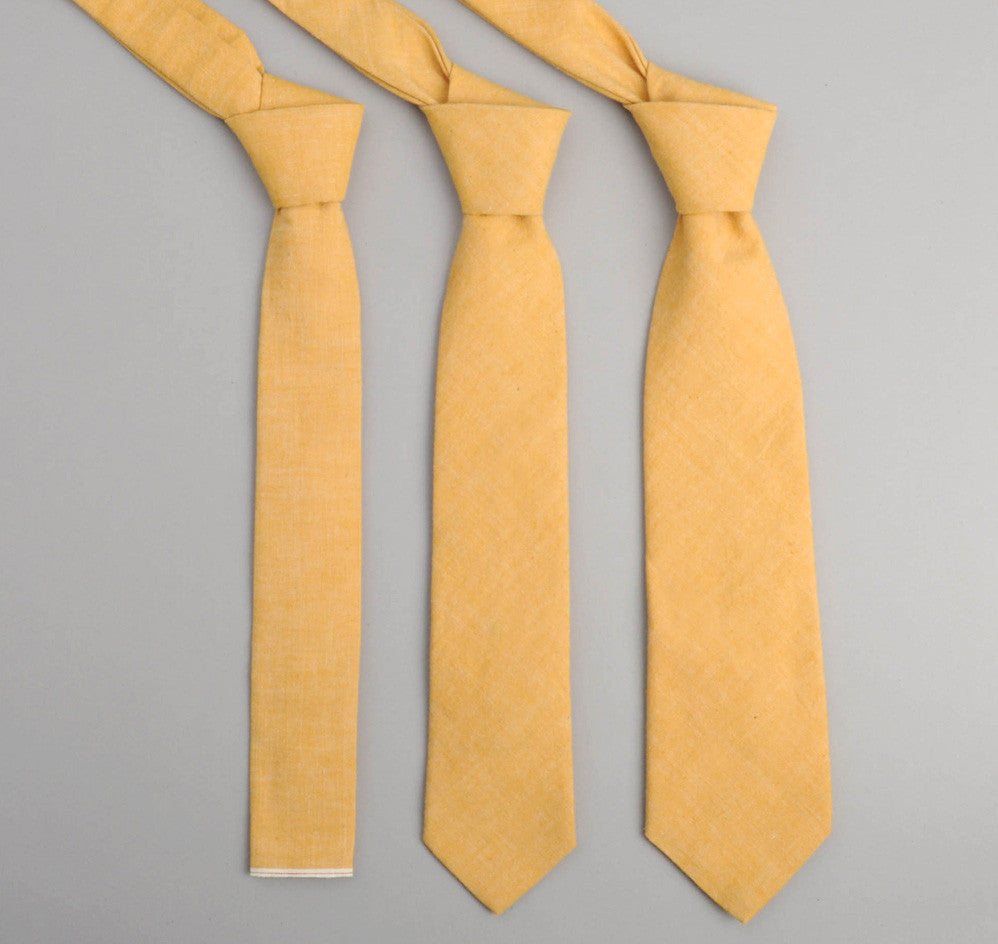 The Hill-Side - 026 - Selvedge Chambray Necktie, Yellow - ST1-026