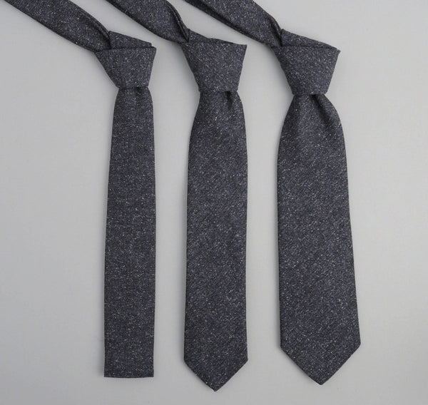 The Hill-Side 189 - Cotton Herringbone Tweed Necktie, Navy