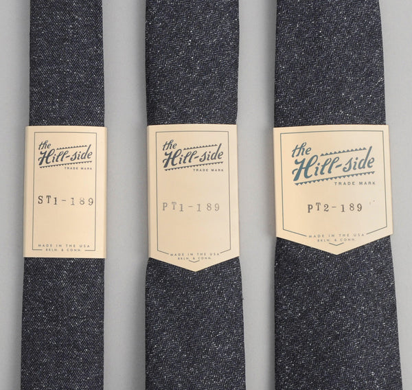 The Hill-Side - 189 - Cotton Herringbone Tweed Necktie, Navy - ST1-189