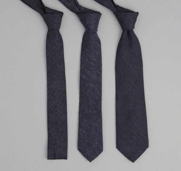 The Hill-Side 200 - Herringbone Necktie, Navy/Purple/Black