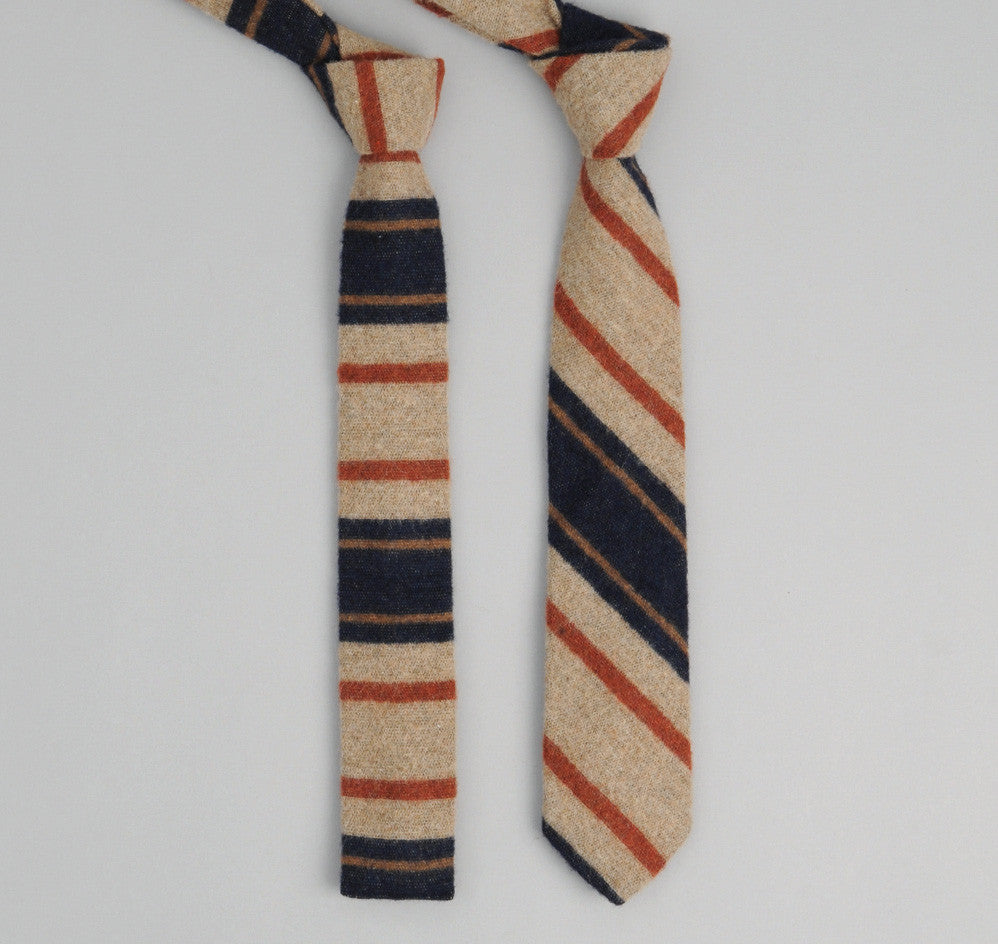 The Hill-Side - 204 - Blanket Stripe Necktie, Tan/Navy/Rust - ST1-204