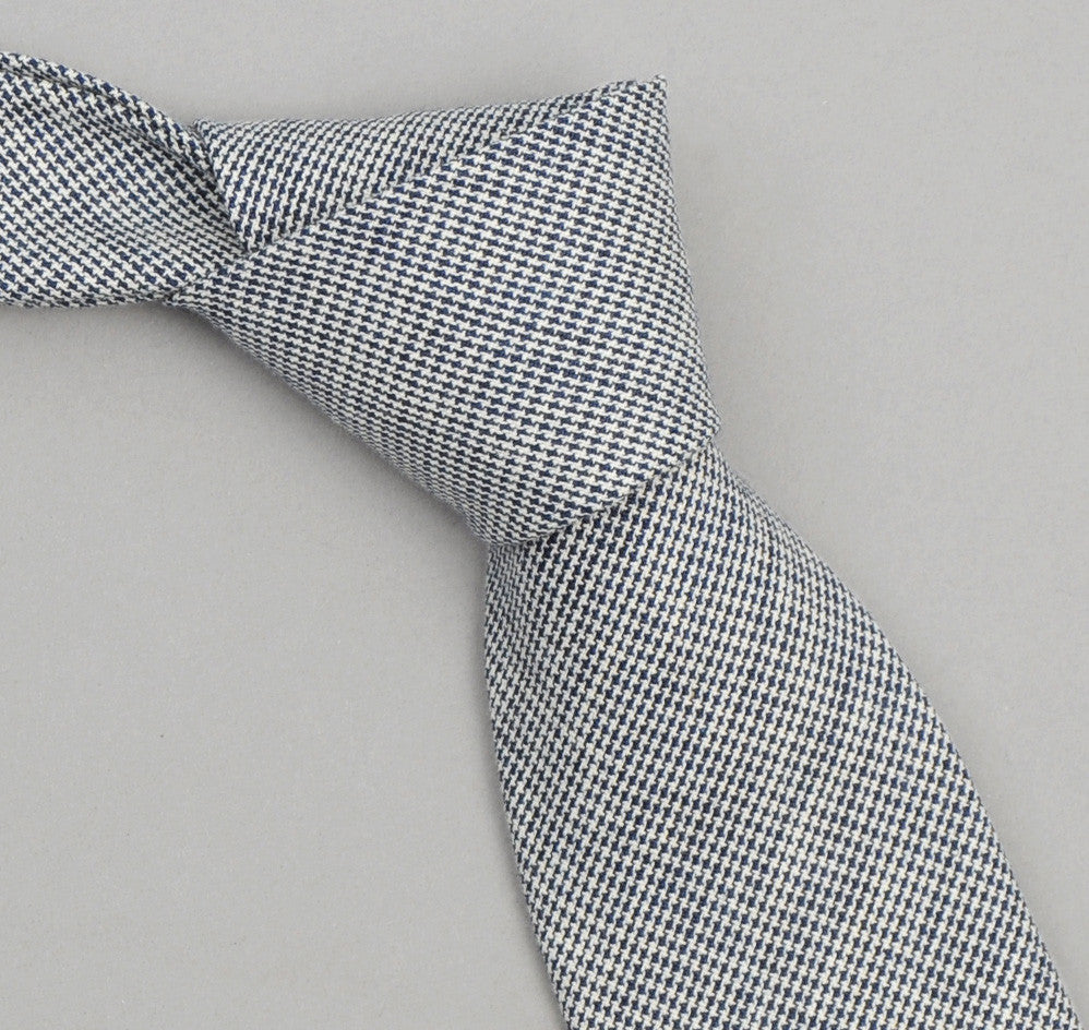The Hill-Side - 257 - Selvedge Mini-Houndstooth Necktie, Indigo - ST1-257