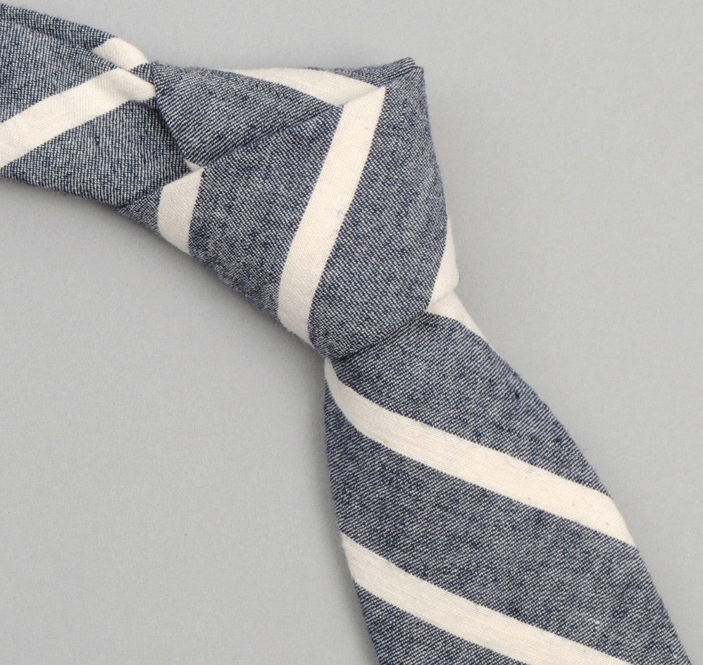The Hill-Side - 267 - Cotton / Linen Narrow Border Stripe Necktie, Navy / Natural - ST1-267