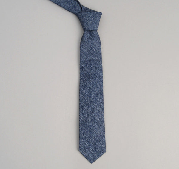 The Hill-Side 287 - Covert Chambray Necktie, Dark Indigo