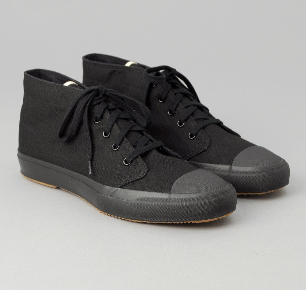 The Hill-Side - 2/2 Herringbone Twill Chukka Sneakers, Black - SN3-192