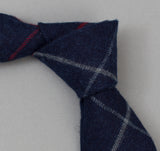 The Hill-Side - 300 - Brushed Indigo Flannel Necktie, Narrow Check - ST1-300
