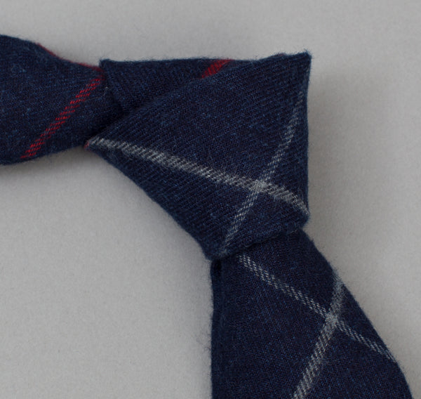 The Hill-Side 300 - Brushed Indigo Flannel Necktie, Narrow Check