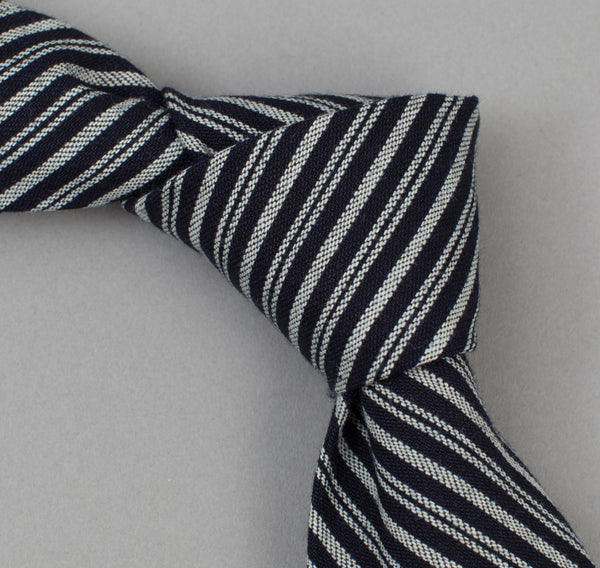 The Hill-Side - 302 - Father & Son Stripe Twill Necktie, Indigo / White - ST1-302