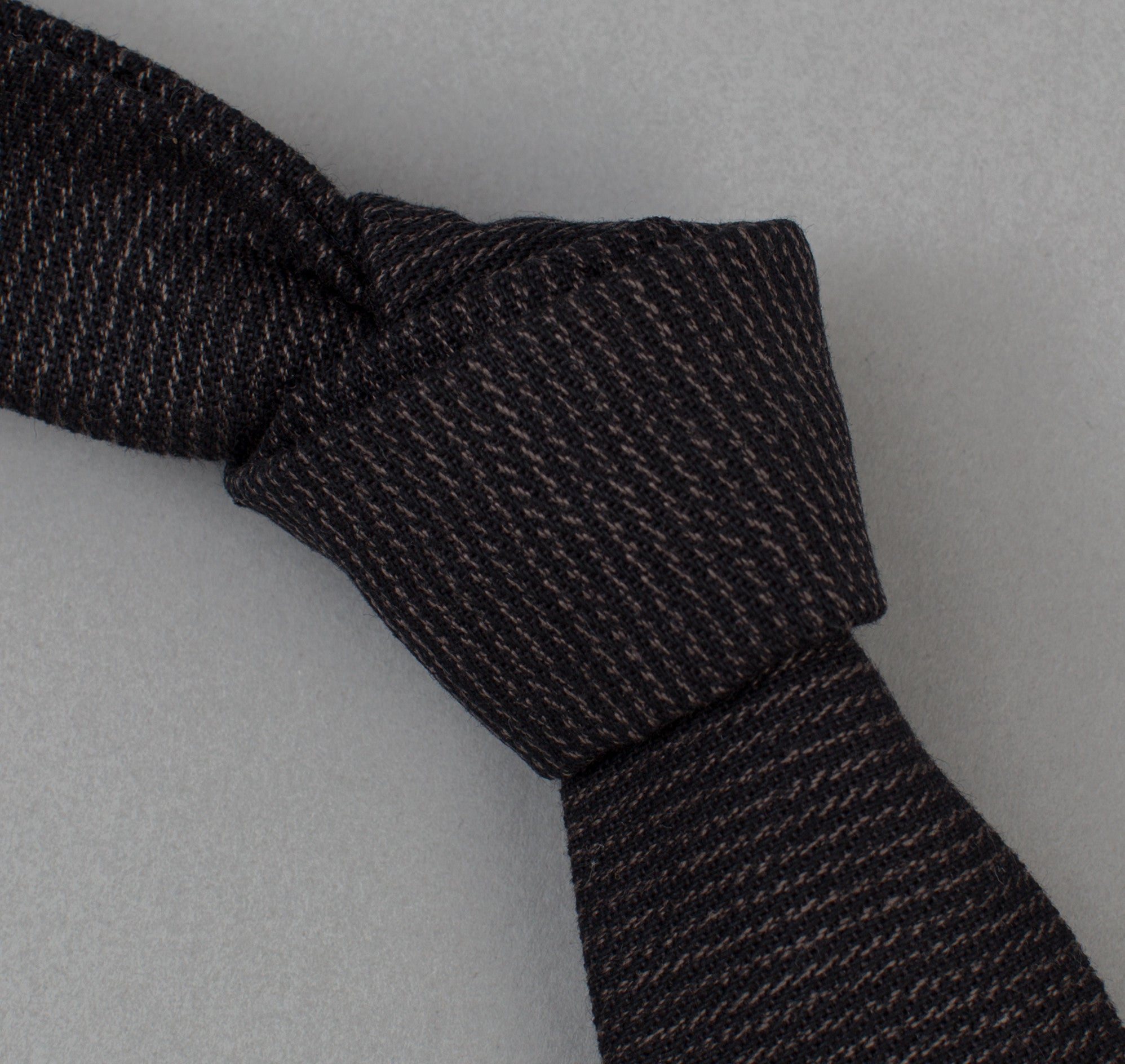 The Hill-Side - 304 - Covert Hickory Stripe Twill Necktie, Black - ST1-304