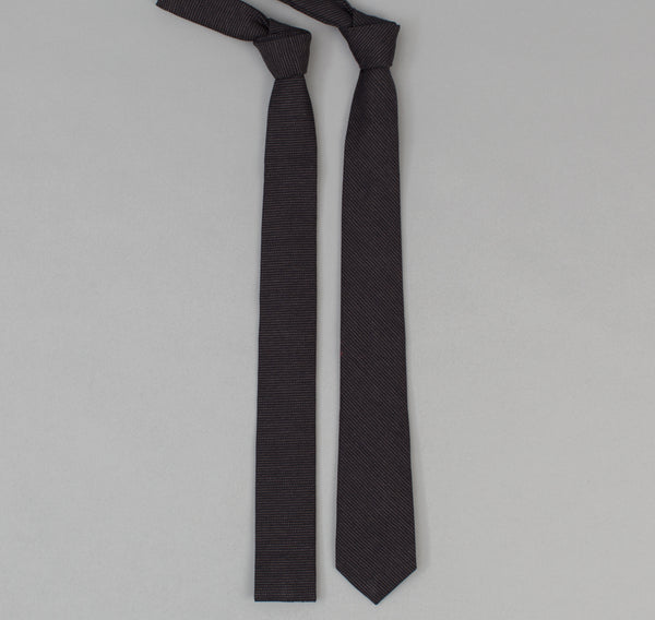 The Hill-Side 304 - Covert Hickory Stripe Twill Necktie, Black