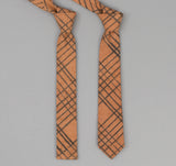 The Hill-Side - 320 - Kakishibu Dyed Cotton Oxford Necktie, Hand-Drawn Check - PT1-320