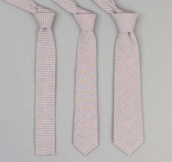 The Hill-Side - 353 - TH-S Mills Natural Warp Border Stripe Necktie, Navy / Coral Pencil - PT1-353