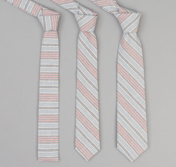 The Hill-Side - 354 - TH-S Mills Natural Warp Border Stripe Necktie, Antique Japanese Pattern - PT1-354