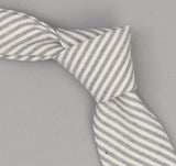 The Hill-Side - 355 - TH-S Mills Natural Warp Border Stripe Necktie, Navy / Natural Hickory - PT1-355