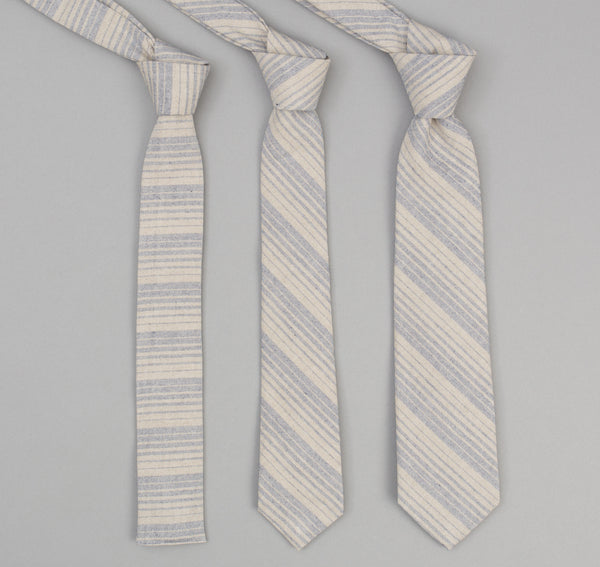 The Hill-Side - 356 - TH-S Mills Natural Warp Border Stripe Necktie, Navy / Tan Waterfall - PT1-356