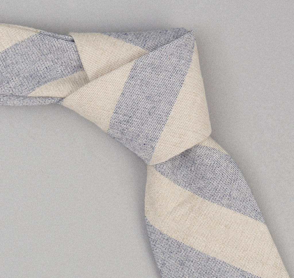 The Hill-Side TH-S Mills Natural Warp Tie, Border Stripe