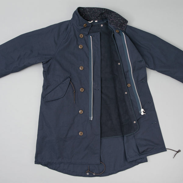 The Hill-Side - All-Weather Mil Overcoat, Waterproof MizuTech Cotton, Navy - JK12-390