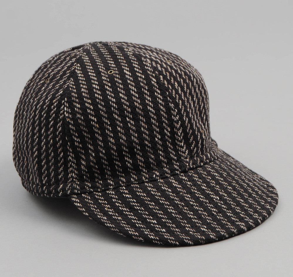 The Hill-Side - Beach Cloth Stripe 6-Panel Ball Cap, Black / Beige - CA1-202