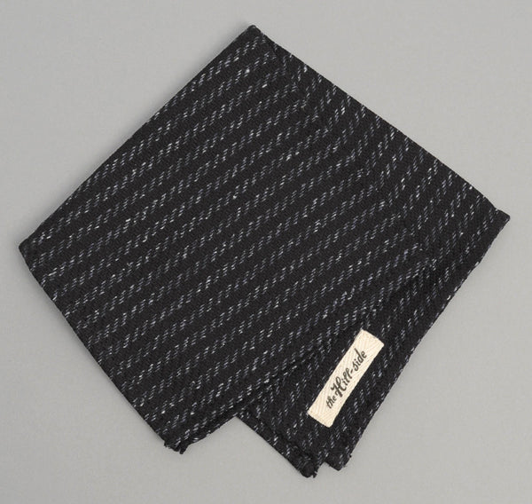 The Hill-Side - Beach Cloth Stripe Pocket Square, Black / Navy - PS1-201