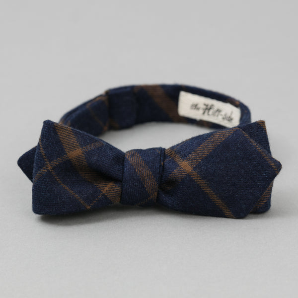 The Hill-Side - Bow Tie, Indigo/Brown Flannel Check - BT1-378