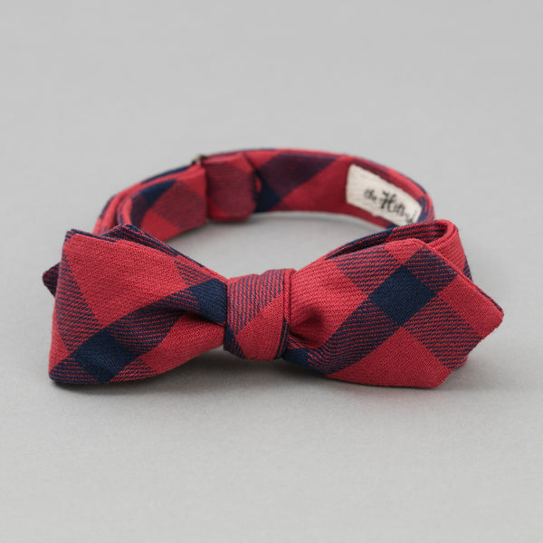 The Hill-Side Indigo/Red Flannel Bow Tie, Windowpane
