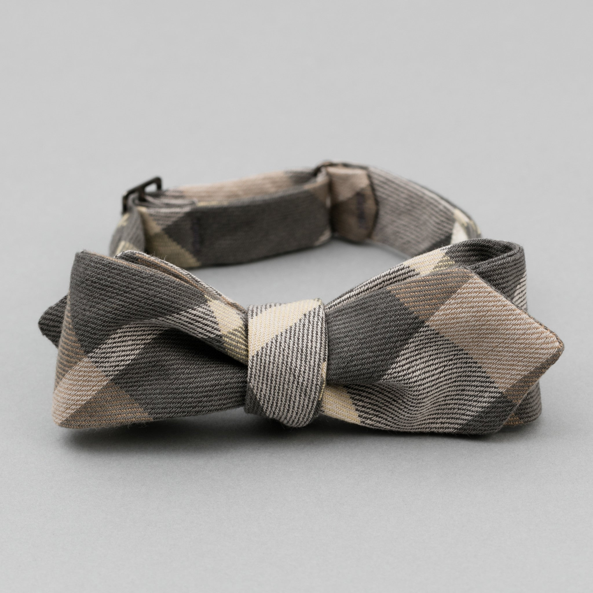 The Hill-Side - Bow Tie, Sulphur-Dyed Flannel Check, Grey/Brown - BT1-377