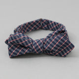 The Hill-Side - Bow Tie, TH-S Mills Navy Warp Grid Check, Natural & Coral - BT1-370