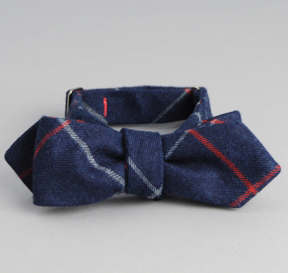The Hill-Side - Brushed Indigo Flannel Bow Tie, Narrow Check - BT1-300