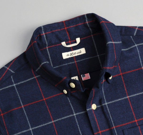 The Hill-Side Brushed Indigo Flannel Button-Down Shirt, Narrow Check