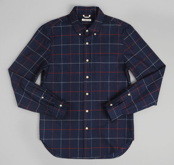 The Hill-Side - Brushed Indigo Flannel Button-Down Shirt, Narrow Check - SH1-300