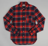 The Hill-Side - Brushed Indigo Flannel Button-Down Shirt, Wide Check - SH1-301