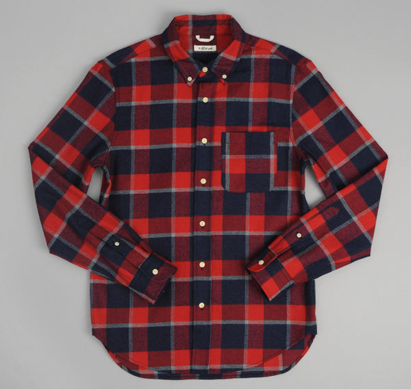 The Hill-Side Brushed Indigo Flannel Button-Down Shirt, Wide Check