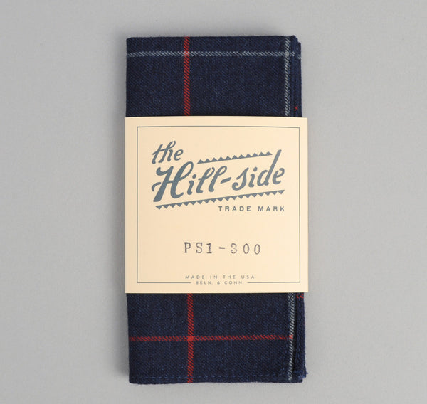 The Hill-Side Brushed Indigo Flannel Pocket Square, Narrow Check