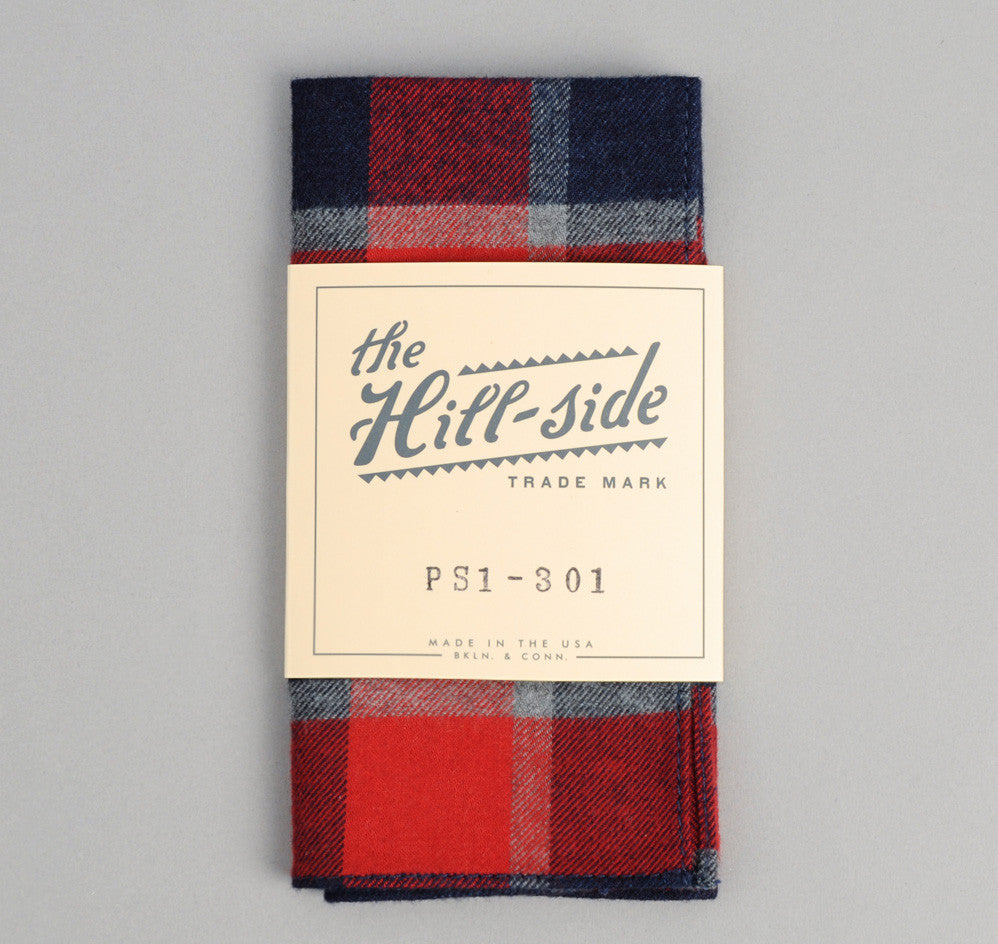 The Hill-Side - Brushed Indigo Flannel Pocket Square, Wide Check - PS1-301
