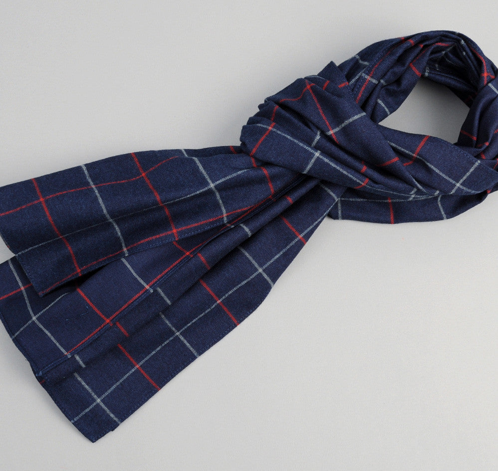 The Hill-Side - Brushed Indigo Flannel Scarf, Narrow Check - SC1-300