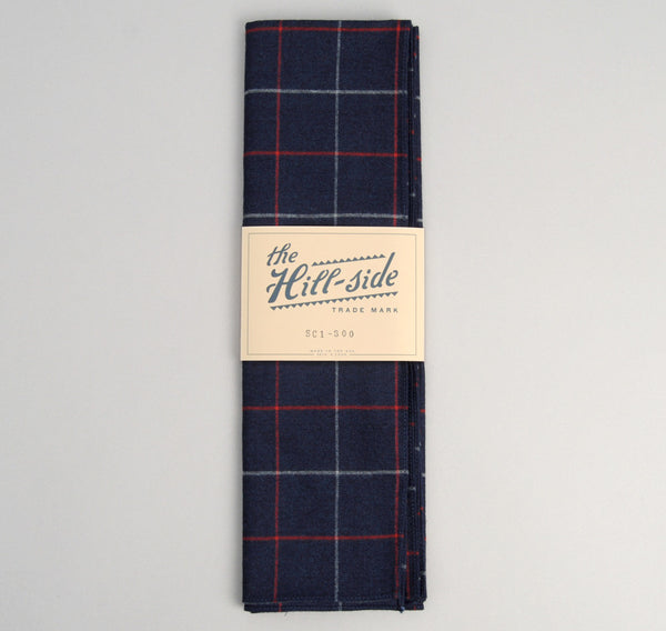 The Hill-Side Brushed Indigo Flannel Scarf, Narrow Check