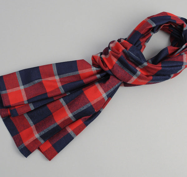 The Hill-Side Brushed Indigo Flannel Scarf, Wide Check