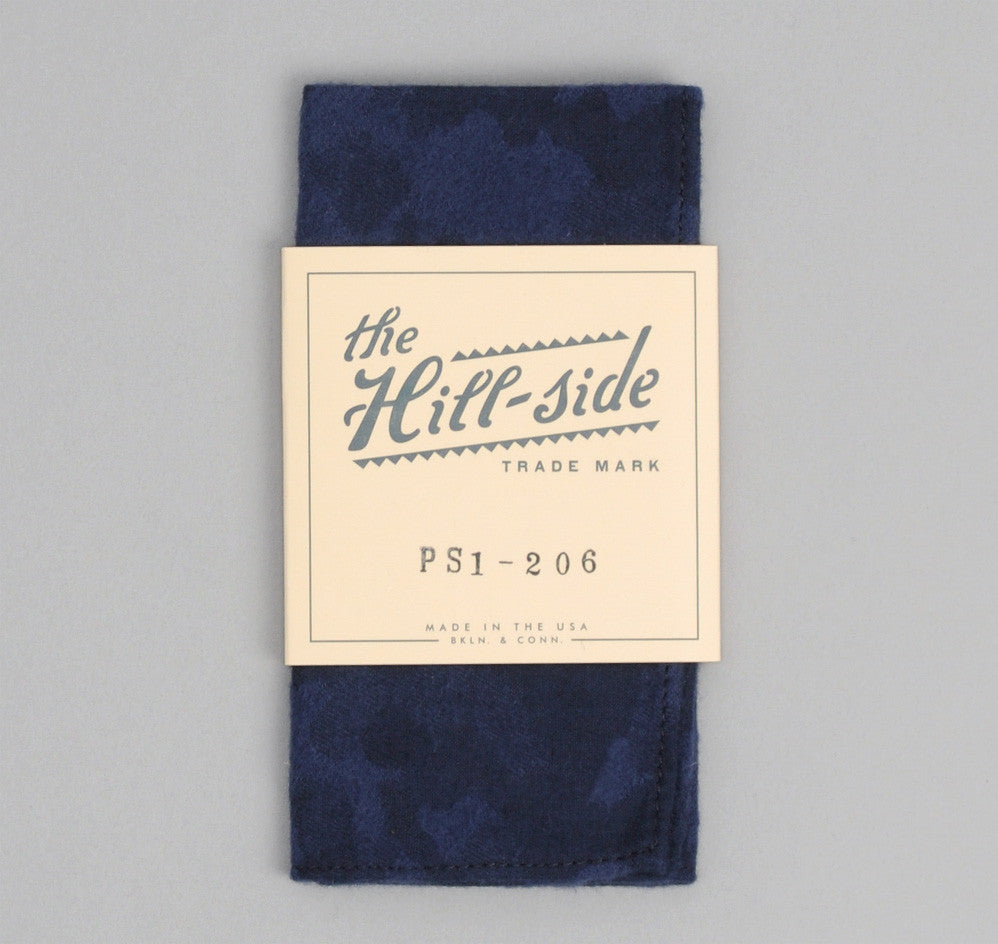 The Hill-Side - Brushed Jacquard Camouflage Pocket Square, Navy - PS1-206