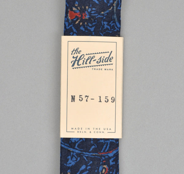 The Hill-Side - COTTON/LINEN VICTORIAN IVY PRINT TIE, NAVY - N57-159