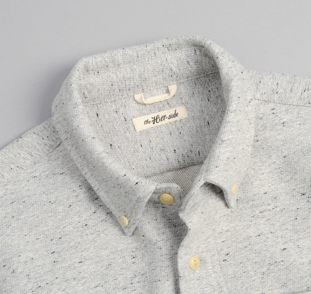 The Hill-Side - Cotton Blend Blanket Twill Button-Down Shirt, Grey - SH1-298