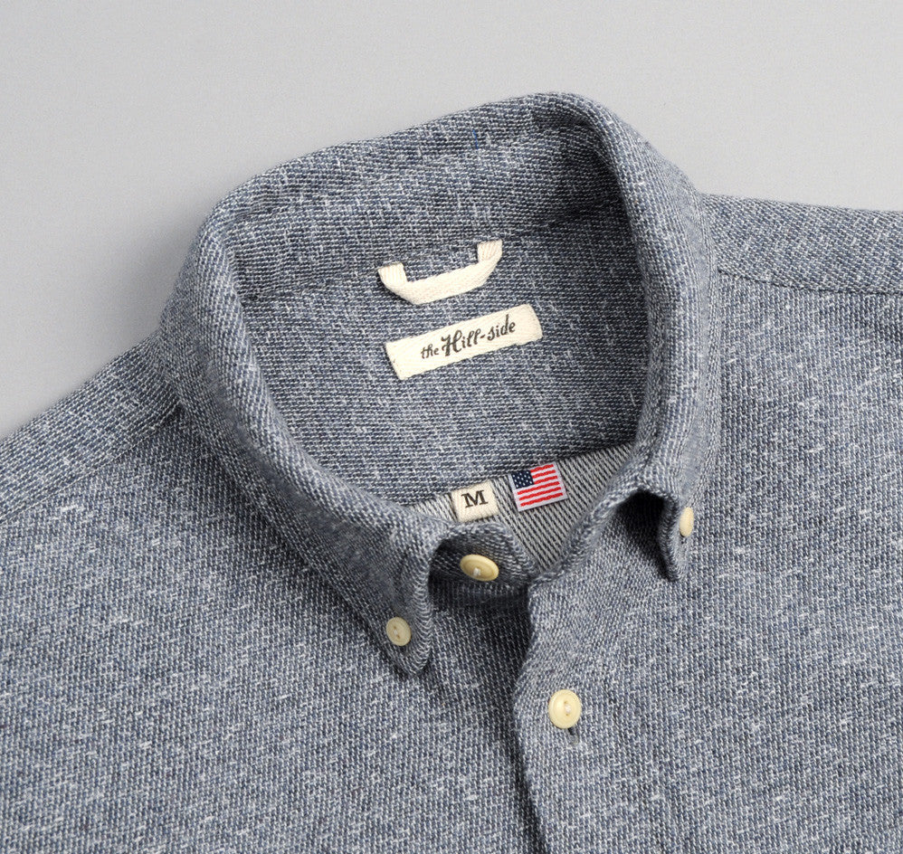 The Hill-Side - Cotton Blend Blanket Twill Button-Down Shirt, Navy - SH1-297