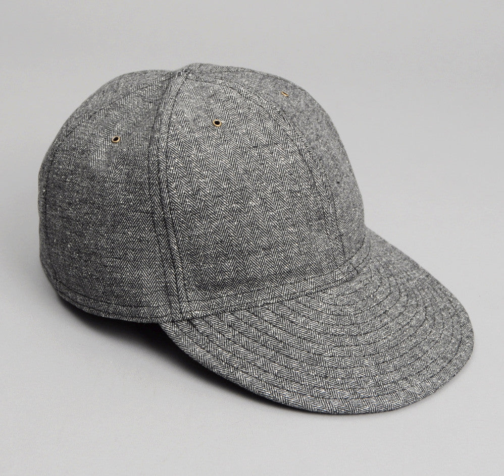 The Hill-Side - Cotton Herringbone Tweed 6-Panel Ball Cap, Grey - CA1-188