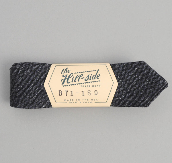 The Hill-Side - Cotton Herringbone Tweed Bow Tie, Navy - BT1-189