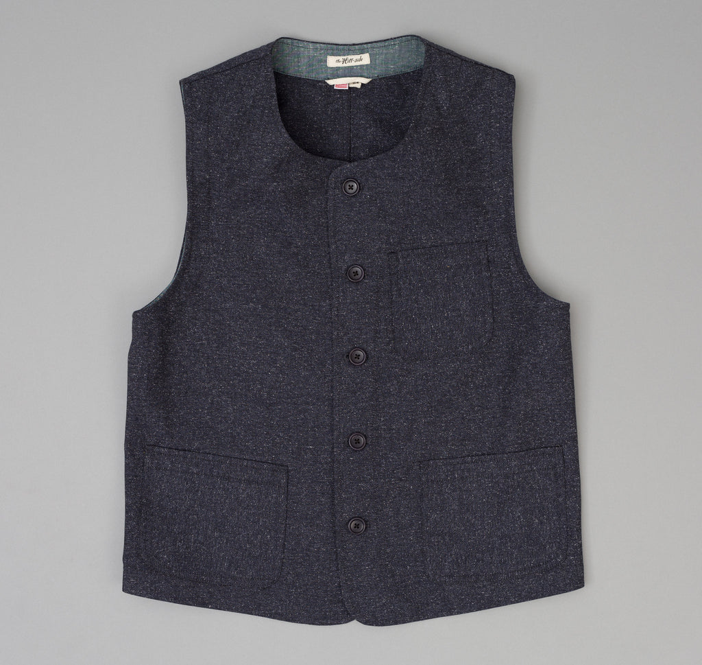 The Hill-Side - Cotton Herringbone Tweed Weekend Vest, Navy - VE1-189