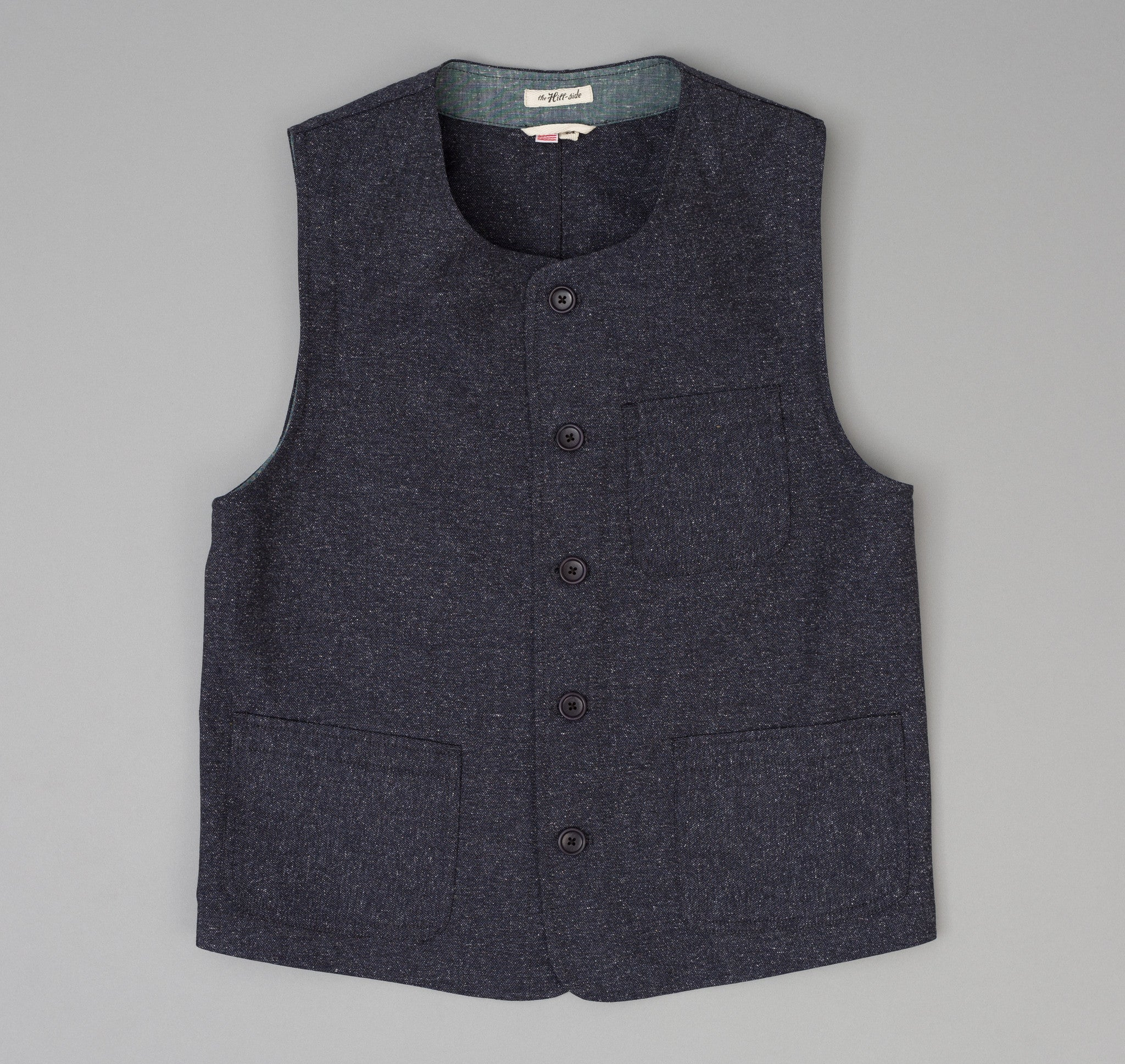 The Hill-Side Cotton Herringbone Tweed Weekend Vest, Navy