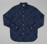 The Hill-Side - Cotton / Linen Jacquard Aloha Button-Down Shirt, Navy - SH1-270